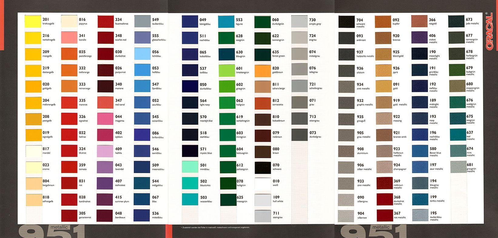 Foto farbkarte oracal 951 mtb for Farbkarten kostenlos